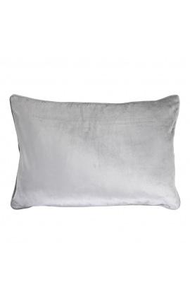 Large rectangular gray velvet cushion 40 x 60