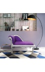 Louis XV chaise longue purple velvet fabric and silver wood
