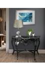 Консоль барокко черные лакированные деревянные и мраморные черный