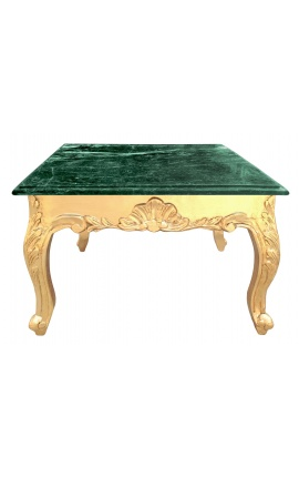 Квадратный столик в стиле барокко с позолоченного дерева и зеленого мрамора