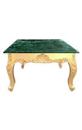 Table basse carrée de style baroque avec bois doré et marbre vert