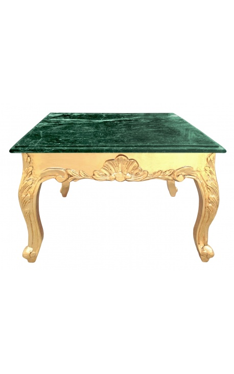 Square coffee table baroque with gilded wood and green marble