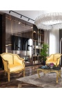Table basse de salon de style baroque en bois doré avec marbre noir
