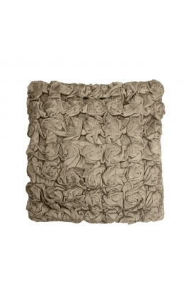 Taupe-colored smock velvet square cushion 30 x 30