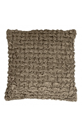 Taupe-colored Smock velvet square cushion 45 x 45