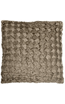 Large square cushion in taupe Smock velvet 50 x 50 Model 1