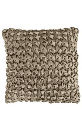Large square cushion in taupe Smock velvet 50 x 50 Model 2