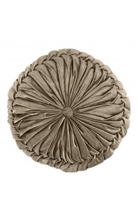 Round velvet cushion Smock taupe 40 cm diameter