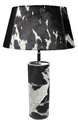 Black and white cowhide round lamp base