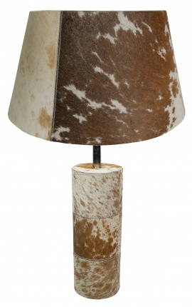 Brown and white cowhide round lamp base