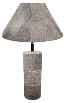 Gray cowhide round lamp base