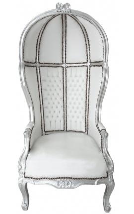 Grand fauteuil carrosse de style Baroque tissu simili cuir blanc et bois argent
