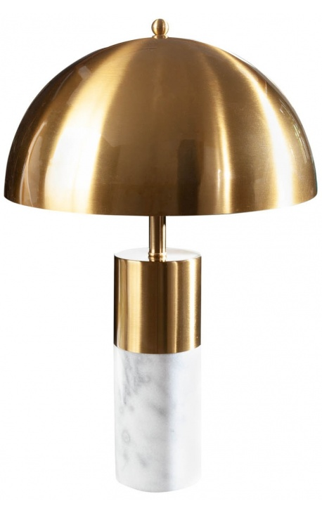 """""""Burlys"""" table lamp in white marble and gold-colored metal of Art-Deco inspiration"""
