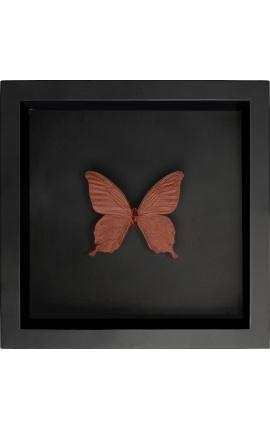 """Cadre décoratif sur fond noir avec papillon """"Papilio Blumei"""" couleur cuivre"""