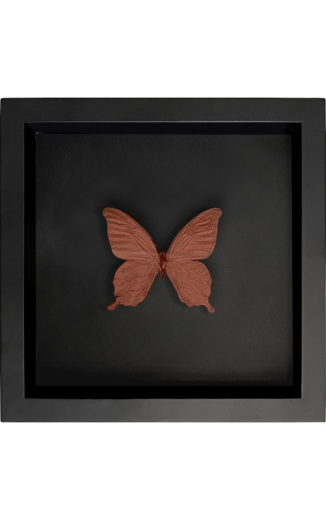 """Decorative frame on black background with copper-colored """"Papilio Blumei"""" butterfly"""