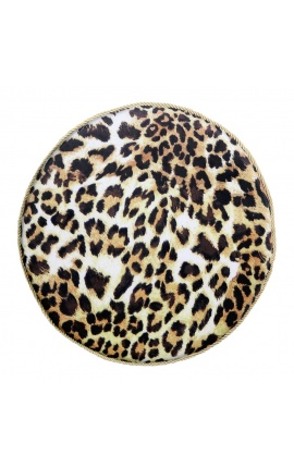 Round cushion in leopard-colored velvet with golden twisted trim 40 cm
