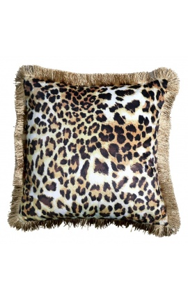 Square cushion in leopard-colored velvet with golden twisted trim 45 x 45