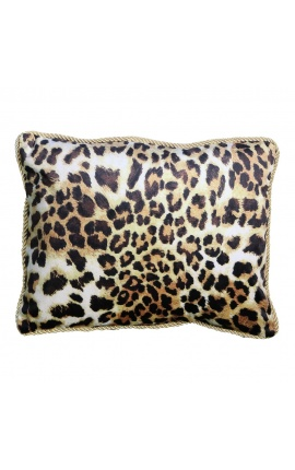 Rectangular cushion in leopard-colored velvet with golden twisted trim 35 x 45