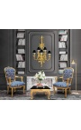 """Baroque armchair of Louis XV style with blue and """"Gobelins"""" pattern fabric and gilded wood"""