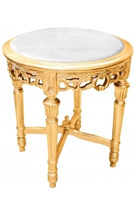 Sellette ronde et dorée de style Louis XVI avec marbre blanc