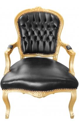 Fauteuil Louis XV de style baroque simili cuir noir et bois doré
