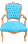 Armchair of Louis XV style turquoise velvet and natural wood color