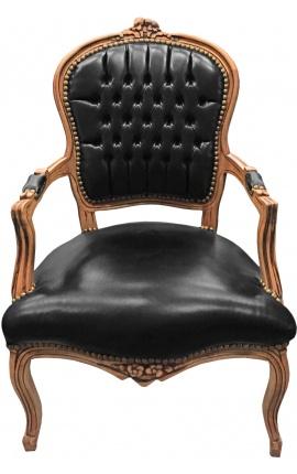 Fauteuil Louis XV de style baroque simili cuir noir et bois naturel