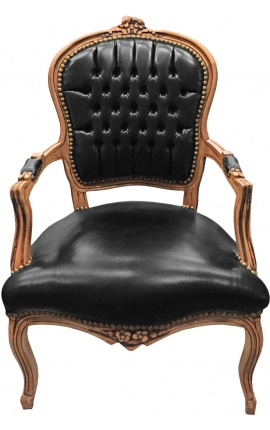 Кресло в стиле барокко Louis XV эпидермиса черного и натурального цвета дерева