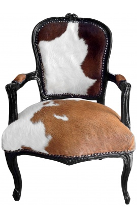 Baroque armchair of Louis XV style real cow leather brown and white and black lacquered wood