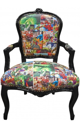 Baroque armchair of Louis XV style false skin leather with comics patterns printed on it and black wood