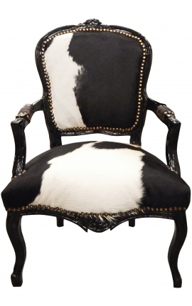 Armchair Louis XV with real black and white cowhide and black wood