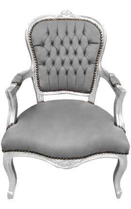Baroque armchair of Louis XV style grey and silvered wood