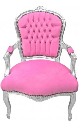 Fauteuil Louis XV de style baroque velours rose et bois argenté