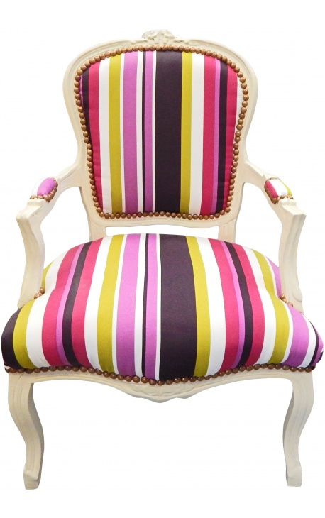Барокко кресло Louis XV раздели многоцветные полосы и бежевый дерево