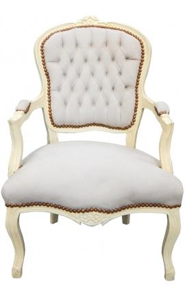 Fauteuil Louis XV de style baroque velours beige et bois beige