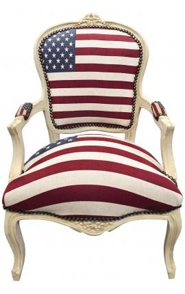 """Fauteuil baroque de style Louis XV """"American Flag"""" et bois beige"""