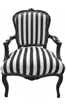 Baroque armchair of Louis XV style stripped black and white fabric and black lacquered wood
