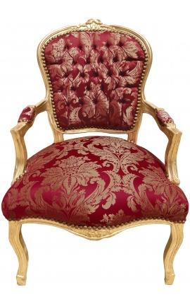 """Fauteuil Louis XV de style baroque tissu satiné rouge aux motifs """"Gobelins"""" et bois doré"""