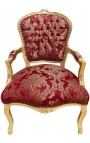 """Baroque armchair of Louis XV style with burgundy fabric and """"Gobelins"""" motives and gilded wood"""
