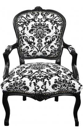 Стиль барокко кресло Louis XV ткань Черный цветочные и черного дерева