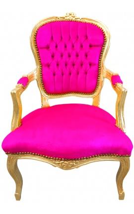 Барокко кресло Louis XV стиль деревянный позолоченный и фуксия