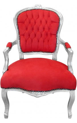 Fauteuil Louis XV de style baroque velours rouge et bois argent