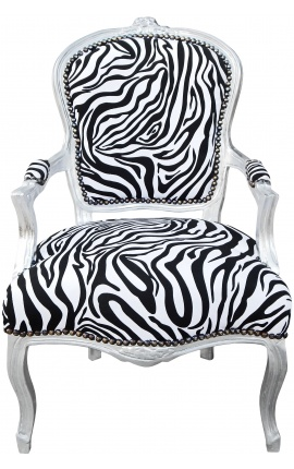 Baroque armchair of style Louis XV zebra and silvered wood