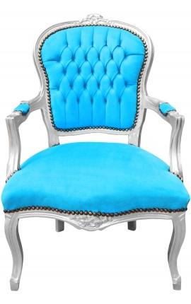 Fauteuil Louis XV de style baroque velours bleu turquoise et bois argent