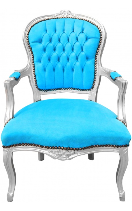 Барокко кресло Louis XV стиле бирюзового и Серебряный бор