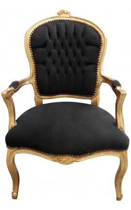 Fauteuil baroque de style Louis XV tissu velours noir et bois doré