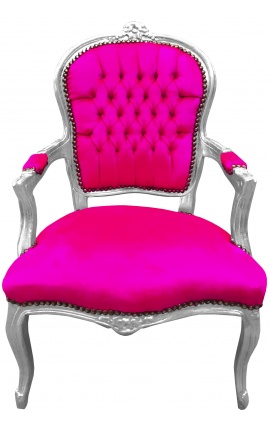 Стиль барокко кресло Louis XV розовый фуксия и серебро дерево