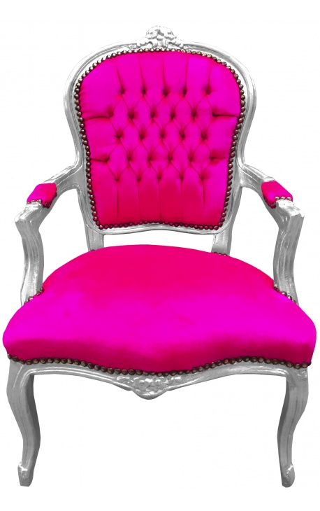 Baroque armchair of style Louis XV fuchsia and silvered wood
