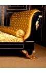 Lit de style Empire tissu satiné doré et bois laqué noir