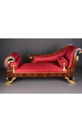 Grand daybed French Empire style red satin fabric and mahogany